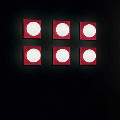 0404042364302 Leucos Studio бра/потолочный светильник Gio 30 P PL, белое мат.стекло, рамка красн