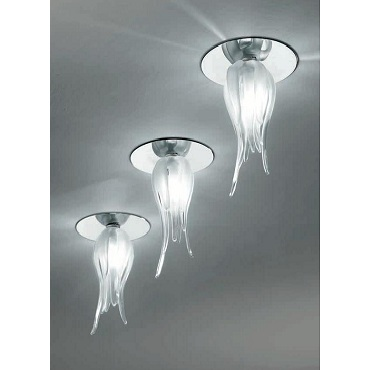 0501236013406 Leucos Studio светильник встраиваемый ZASHI, прозрачное стекло, диам 7,5см, выс 12
