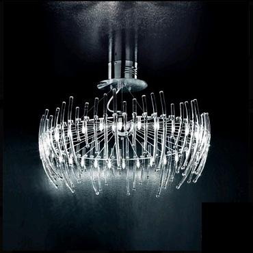 0503062013406 Leucos Studio подвес Salome' 30, прозрачное стекло, 80х max 120см, 30x10W G4, хром