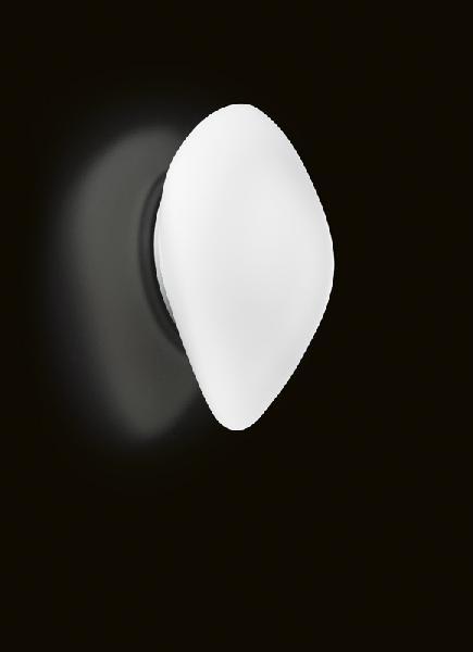 0504093363602 Leucos Idea бра/потолочный свет-к Stone, белое стекло, дл 43см, 2х60W E27/75W E27,