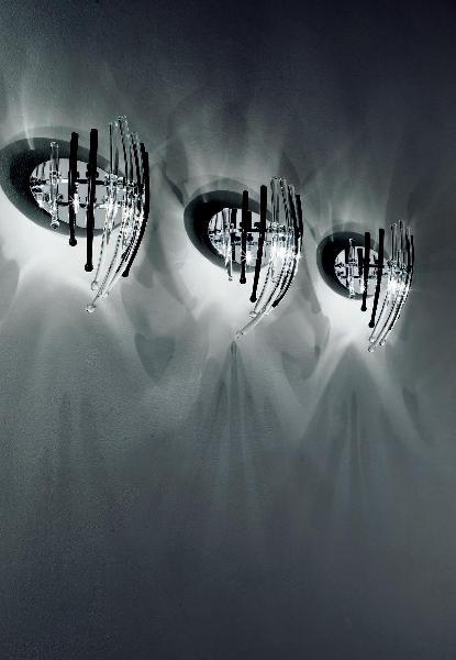 0505321013406 Leucos Studio бра Salome, прозрачное стекло, дл 26см, выс 35см, 3x20W G4, хром