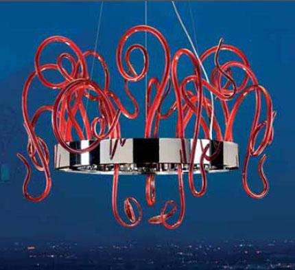 0703290013410 Leucos светильник подвесной Aspid S35, прозрачное стекло, D 35/70см, Н max200см, 8