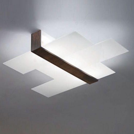 """90229 Linea Light """"Triad"""" светильник настенно-потолочный, белое сериграфированное стекло, 48х11х"""