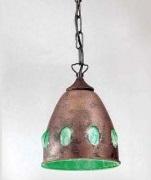 1112 VERDE Sylcom Подвес, стекло-зеленое, диам 24, выс 28, 1х100W, E27, неоБработанная медь