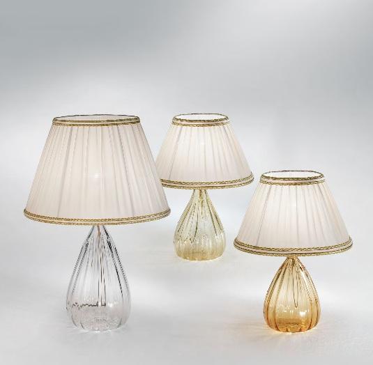 1396 CP CR Sylcom Лампа настольная, стекло-хрусталь, диам 35, выс 54, 1х75W, E27, позолоченный,
