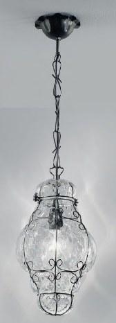 1435 N.O CR Sylcom Подвес, стекло-хрусталь, диам 22, выс 35, 1х100W, E27, черный матовый металл