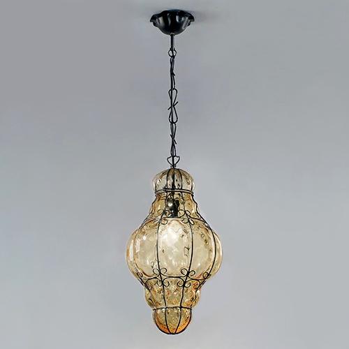 1436 AS Sylcom Светильник подвесной, стекло-янтарь соммерсо, D 32см, Н 45см, 1х100W E27, черный