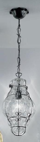 1436 N.O CR Sylcom Подвес, стекло-хрусталь, диам 32, выс 45, 1х100W, E27, черный матовый металл