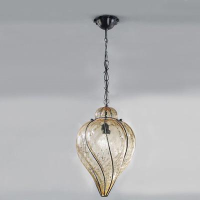 1438 F.G. AS Sylcom Подвес, стекло-янтарь соммерсо, диам 28, выс 35, 1х100W, E27, неоБработанное