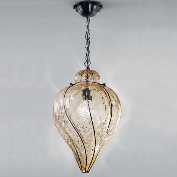 1439 AS Sylcom Подвес, стекло-янтарь соммерсо, диам 34, выс 45, 1х100W, E27, черный матовый мета