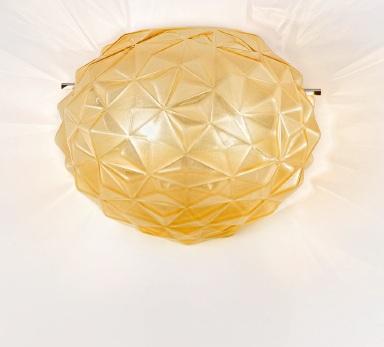 Sylcom Светильник настенно-потолочный, стекло янтарь соммерсо, D 20см, Н 20см, 1x60W E14, хром