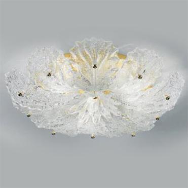 918/60 D RCR Sylcom потолоч свет-к, стекло-хрустальная роса, диам 60, выс 12, 4х60W, E14, позоло