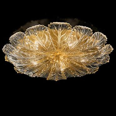 918/80 D ORO Sylcom потолоч свет-к, стекло-золото 24К, диам 80, выс 14, 5х60W, E27, позолоченный