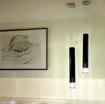 Светильник потолочный VistosiEXPO. Smoking susp. picola nero cristal nichel E27