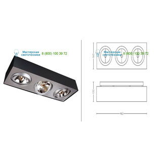 57003/30/LI Lirio Bloq 3x50W Black накладной светильник