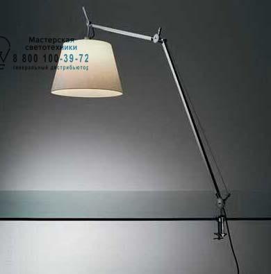 TOLOMEO MEGA TAVOLO пергамент 420 со струбциной, настольная лампа Artemide 0564010A 0780030A A00