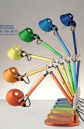 Artemide A010970 A004100 настольная лампа TOLOMEO MICRO анодированный бирюзовый со струбциной