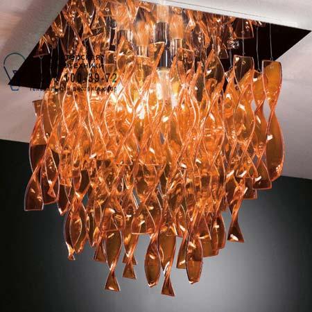 AURA 75 x 75 оранжевый, потолочный светильник Axo Light PLAURG30ARCRE27