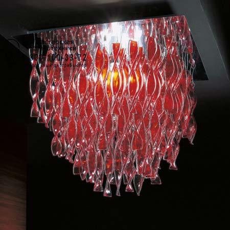 Axo Light PLAURG30RSORE27 потолочный светильник AURA 75 x 75 красный с золотой фольгой