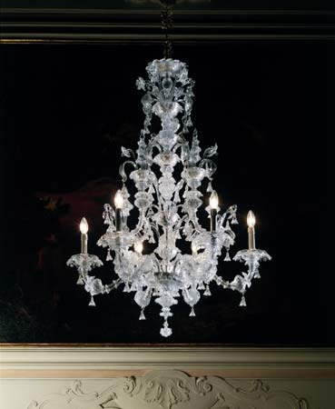 7063 K6+3 прозрачное стекло, люстра De Majo 070630K63