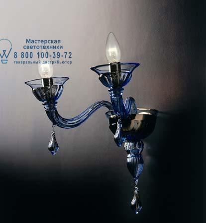 7084 A2 голубое стекло с сине-золотыми украшениями, бра De Majo 070840A23