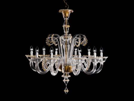 7092 K10 золотой с прозрачным стеклом, люстра De Majo 070920K60