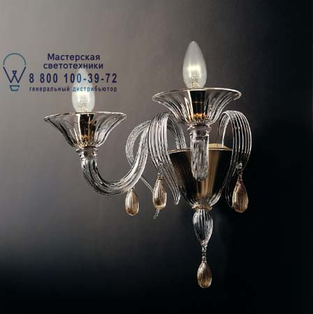 7096 A3 дымчатое стекло с золотыми украшениями, бра De Majo 070960A34