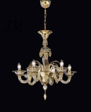 De Majo 070960K64 люстра 7096 K10 дымчатое стекло с золотыми украшениями