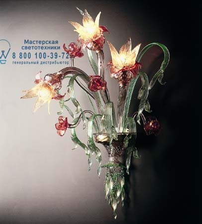 8089 A3 золотой со стеклом красного и светло-зеленого цвета, бра De Majo 080890A30