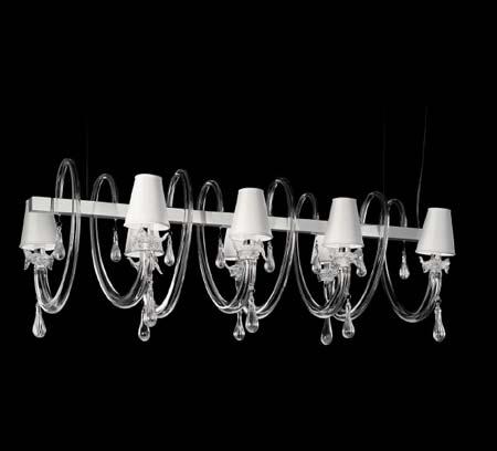 8090 K8 серый с прозрачным стеклом, люстра De Majo 080900K14