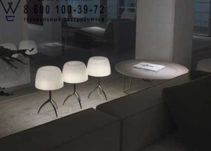 Foscarini 0260112 50D настольная лампа LUMIERE 05 малый светильник с диммером черный хром/слонов