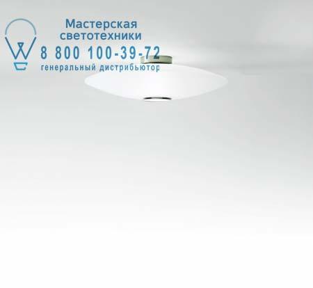 EXTRA C1 белое стекло + белый рассеиватель никель, потолочный светильник Prandina 1141000110201