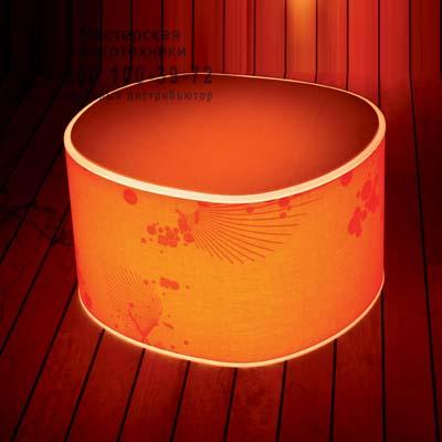 1892000313037 Prandina ROOM ECO F50 (IP20) опаловый белый/оранжевая шелковая ткань с рисунком