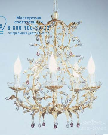 1375.5CR ametista золотой с кристаллами цвета аметист, люстра Tredici Design 1375.5CR ametista