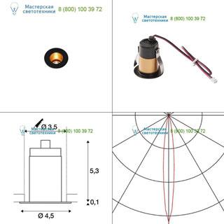 1000917 SLV by Marbel TRITON MINI LED светильник встраиваемый 350мА с LED 1.2Вт, 3000К, 70лм, 12°, CRI>90, черный/ золото