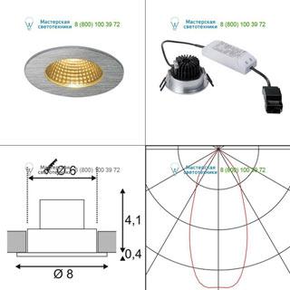114426 SLV by Marbel PATTA-I ROUND светильник IP65 встраиваемый c LED 9Вт (12Вт), 38°, 3000K, 800lm, алюминий