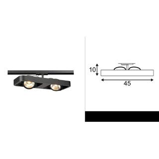 143770 SLV by Marbel 1PHASE-TRACK, LYNAH DOUBLE светильник c COB LED 2x 10Вт (21Вт), 3000К, 1320lm, 24°, черный