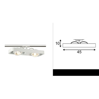 143771 SLV by Marbel 1PHASE-TRACK, LYNAH DOUBLE светильник c COB LED 2x 10Вт (21Вт), 3000К, 1320lm, 24°, белый