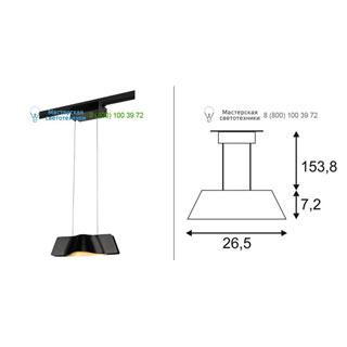 144000 SLV by Marbel 1PHASE-TRACK, WAVE PD светильник подвесной c COB LED 8.6Вт (12Вт), 3000К, 720лм, черный