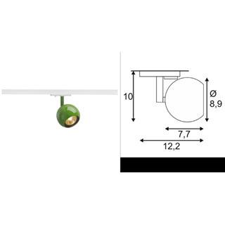 144015 SLV by Marbel 1PHASE-TRACK, LIGHT EYE 1 GU10 светильник для лампы GU10 50Вт макс., папоротниковый (RAL6025)/ белый