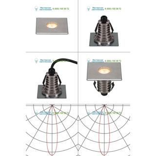 233692 SLV by Marbel DASAR® 100 PREMIUM LED SQUARE светильник встр. IP67 c LED 3.8Вт (5.5Вт), 3000К,300лм, 24°, Al, сталь