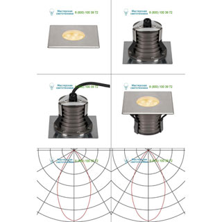 233736 SLV by Marbel DASAR® 150 PREMIUM LED SQUARE светильник встр. IP67 c LED 13Вт (17Вт), 3000К, 1200лм, 60°, Al, сталь