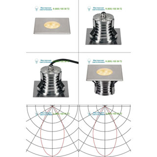 233746 SLV by Marbel DASAR® 150 PREMIUM LED SQUARE светильник встр. IP67 c LED 13Вт (17Вт), 3000К, 1200лм, 60°, сталь