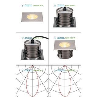 233776 SLV by Marbel DASAR® 180 PREMIUM LED SQUARE светильник встр. IP67 c LED 24Вт (28Вт), 3000К, 2700лм, 38°, Al, сталь