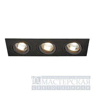 NEW TRIA III GU10 downlight, rectangular, matt black, max. 3x 50W, incl. retaining
