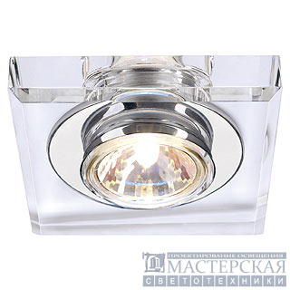 CRYSTAL I downlight, square, chrome/crystal clear, MR16, max. 35W
