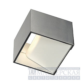 LOGS IN wall lamp, square, alu-brushed, 5W LED, 3000K