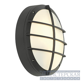 BULAN GRID wall lamp, round, anthracite, E27, max. 2x 25W, PC cover