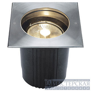 DASAR ES111 recessed ground luminaire, square, stainless steel 316, max. 75W, IP67