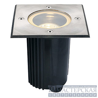 DASAR 115 GU10 recessed ground luminaire, square, stainless steel 316, max. 35W, IP67